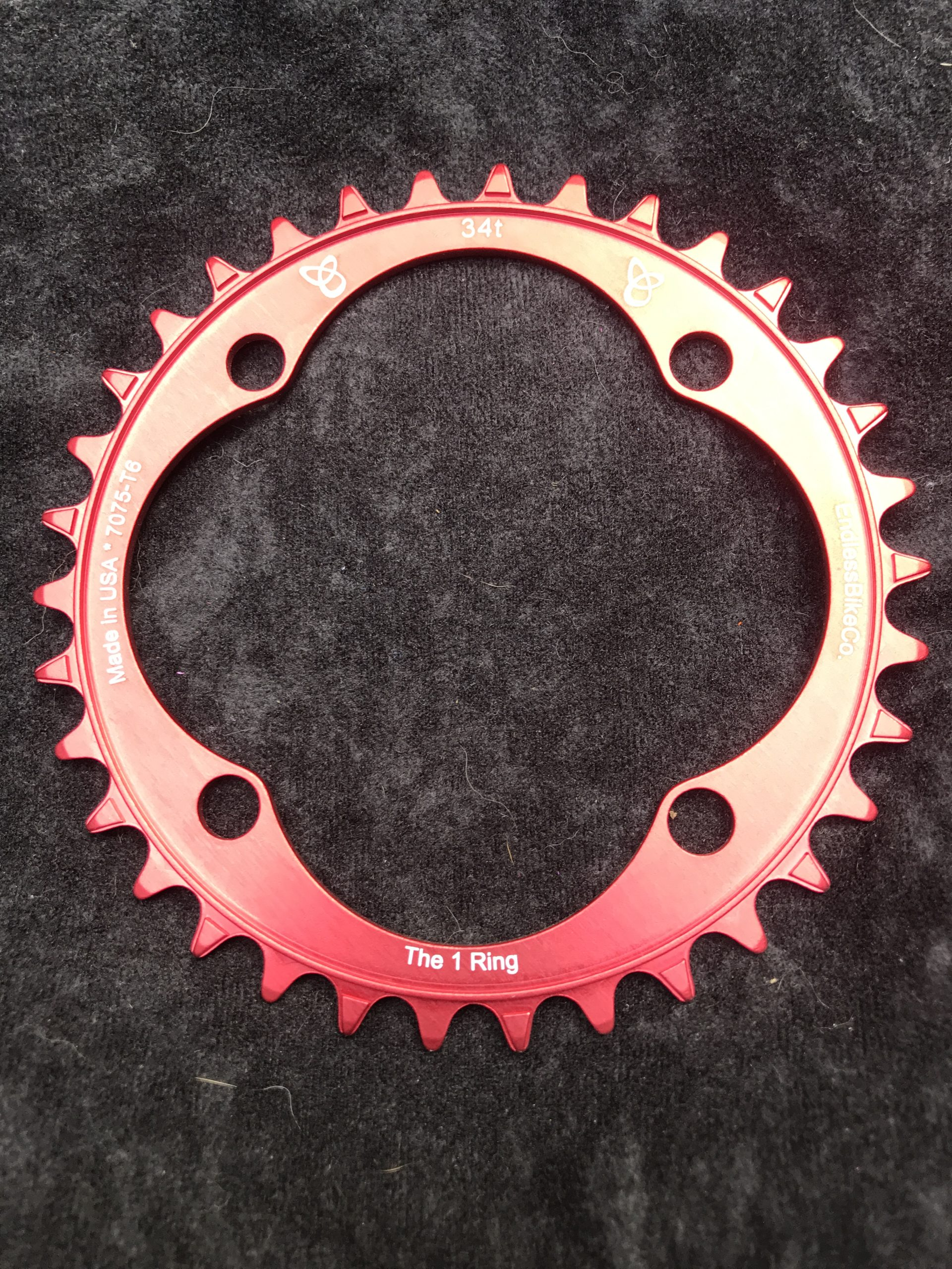 104 BCD chainring 34t red