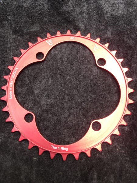 104 BCD chainring 26t red