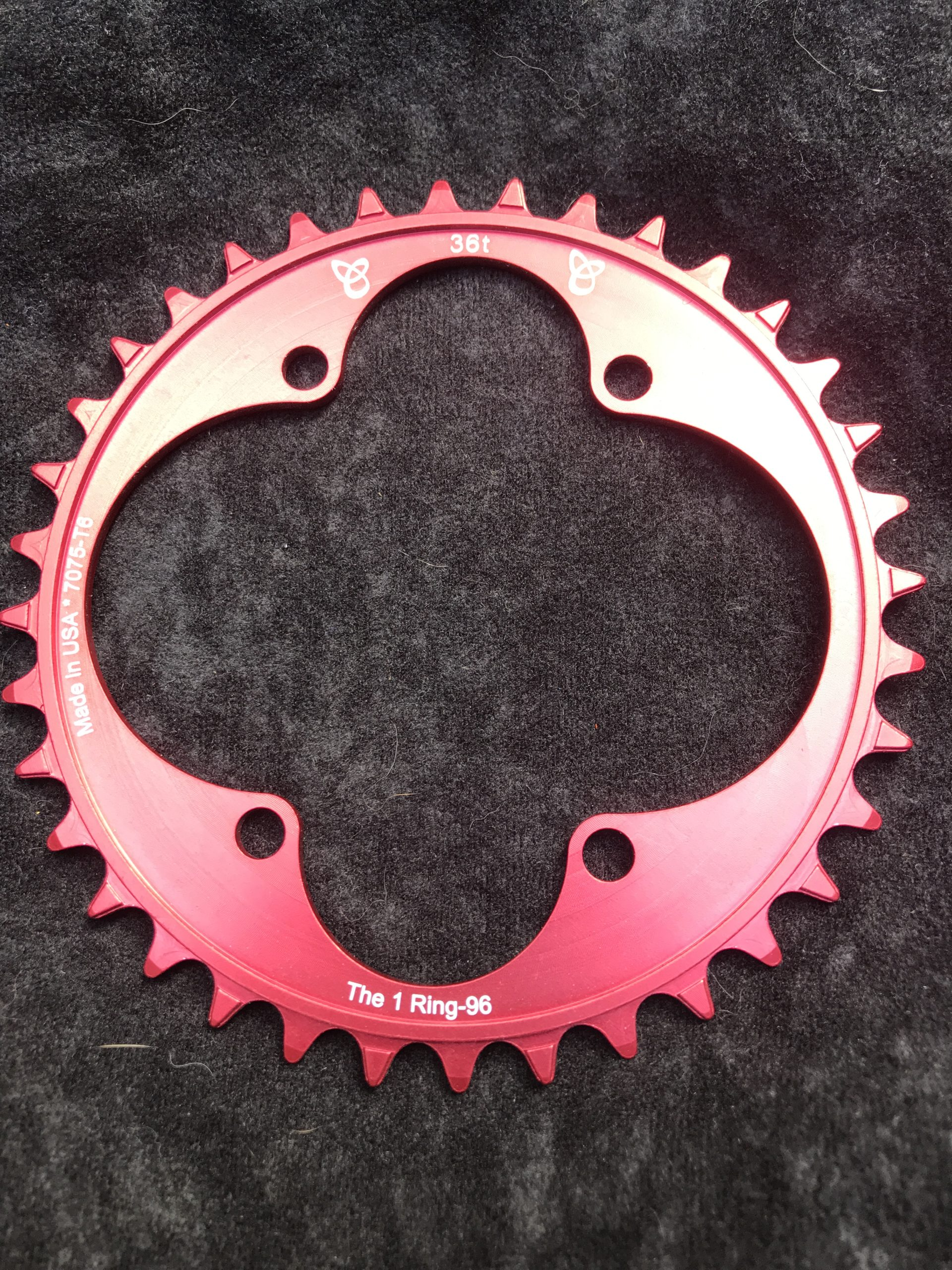 Shimano XT chainring 36t red